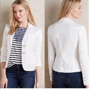 ANTHRO HEI HEI 100% Cotton White Blazer